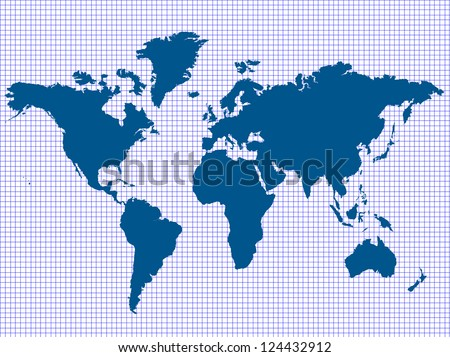 Blue World Map on Graph Paper, Vector Illustration