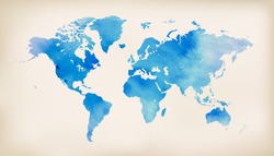 Blue world map on vintage paper background. watercolour style