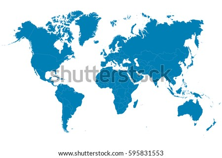 Blue world map on white background. Vector illustration