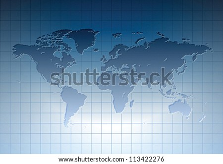 Blue world map. Vector illustration.