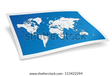 Blue world map. Vector illustration.