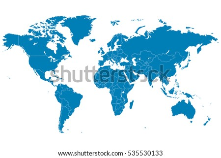 blue world map vector on white