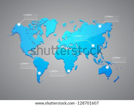 Blue World Map with Infographic Elements | EPS10 Editable Vector Background