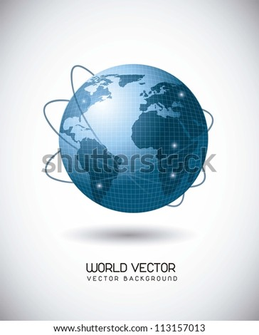 blue world with web of satellites over gray background. vector illustration - stock vector