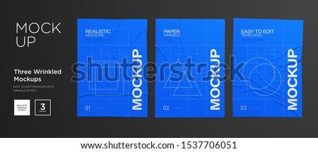 Blue Wrinkled poster template set. Glued paper. Vector Realistic wet wrinkled posters mockup
