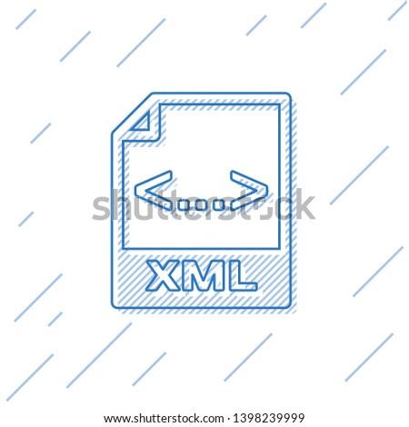 Blue XML file document icon. Download xml button line icon isolated on white background. XML file symbol. Vector Illustration