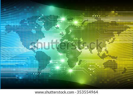 Vector tech map download free vector art stock graphics images perspective world map blue yellow green light abstract technology background for computer graphic website internet and businessrcuit gumiabroncs Gallery
