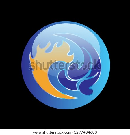 blue yin and yang symbol