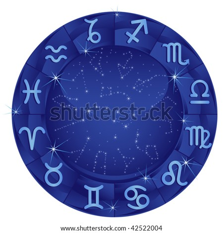 Blue zodiacal circle with zodiac sign