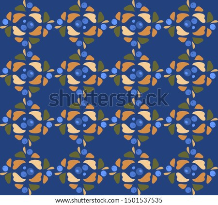 Blueberries seamless vector pattern.  Oriental ornament.