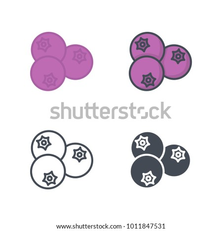 Blueberry flat outlined solid vector icon