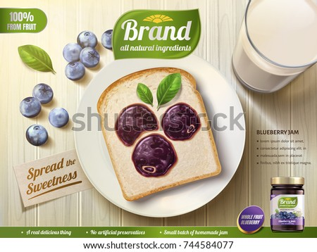 Blueberry jam ads, blueberry shape coating spread on toast, top view of wooden table, 3d illustration
