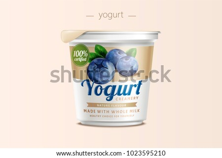 Blueberry yogurt package design, food container in 3d illustration