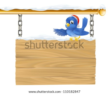 Bluebird Christmas sign illustration. A cute bluebird wearing a Santa Christmas hat showing what the sign says by pointing its wing.
