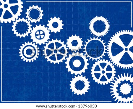 Blueprint Background with cogs