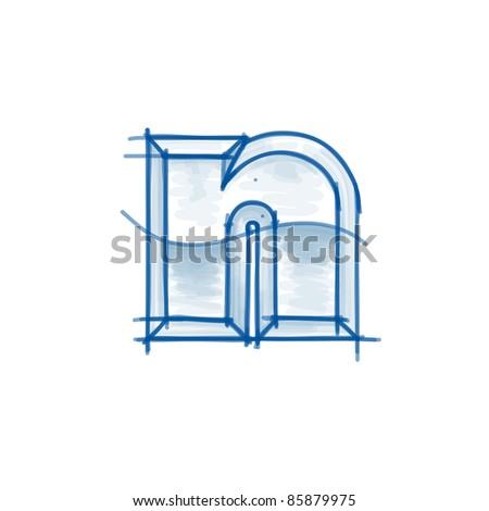 Blueprint font sketch - letter n - marker drawing