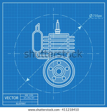 blueprint icon of engine