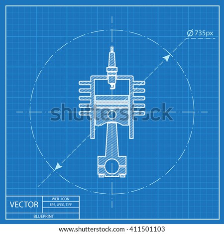 blueprint icon of engine piston