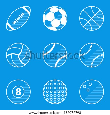Blueprint icon set. Sport ball