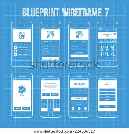 Royalty free mobile wireframe app ui kit 40 search 389503465 blueprint mobile app wireframe ui kit 7 welcome screen sign in screen sign malvernweather Choice Image