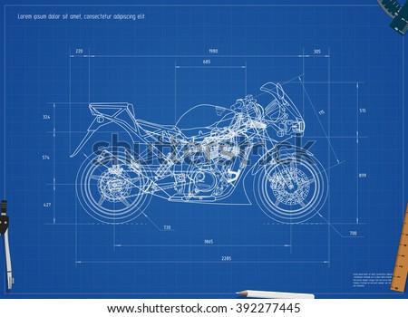 blueprint motorcycle vector