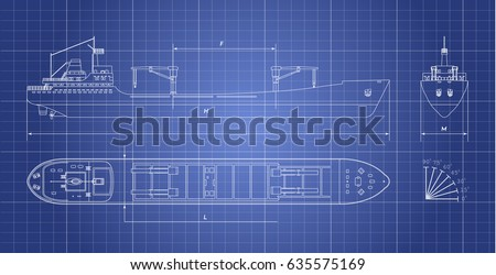 Blueprint of cargo ship on a white background. Top, side and front view. Container transport. Vector illustration