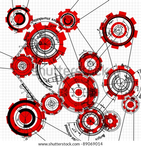 blueprint of gears and cogwheels on white