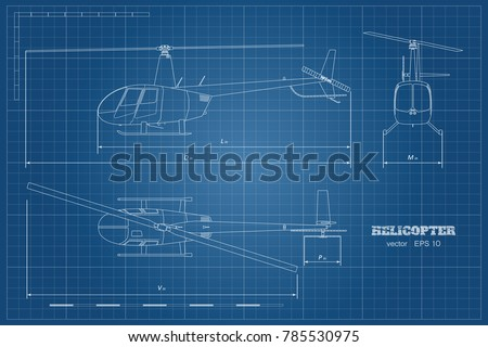 blueprint of helicopter top