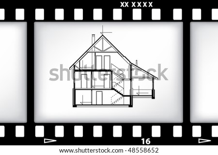 blueprint of house on film