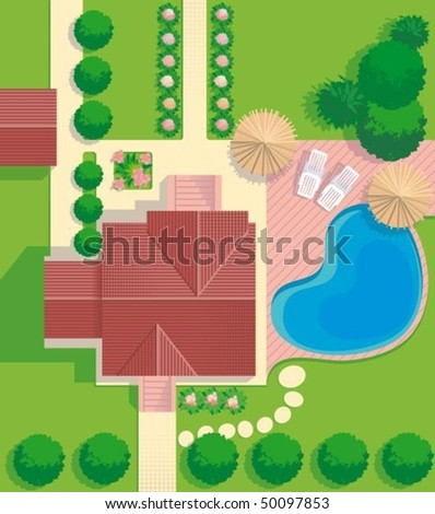 Blueprint of  house with  lawn and pool