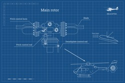 Blueprint of main rotor of helicopter in outline style. Industrial drawing of gearbox part. Detailed isolated image of craft propeller. Vector illustration