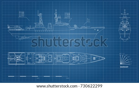 blueprint of military ship top