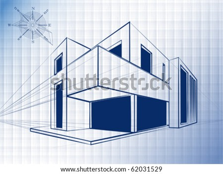 Blueprint Of Modern Building Architectural Background Vector