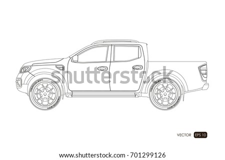 Vector car drawing download free vector art stock graphics images blueprint of suv contour drawing of car on a white background side view of malvernweather Gallery