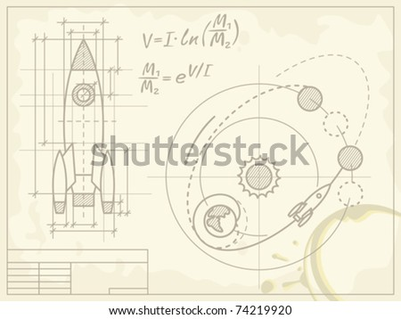 blueprint of the spaceship and
