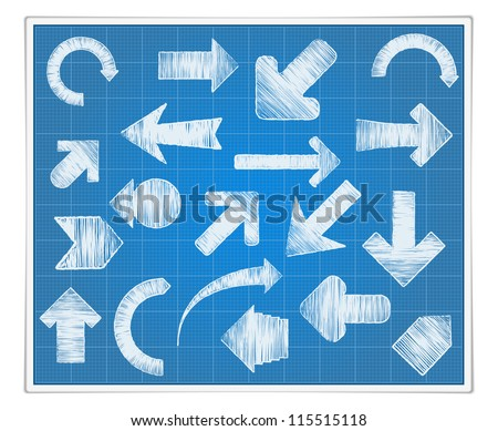 Blueprint paper with hand drawn arrows, vector eps10 illustration