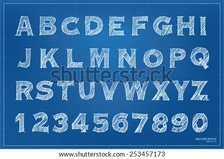 Blueprint pencil sketch of alphabet and numbers set. Vector illustration.