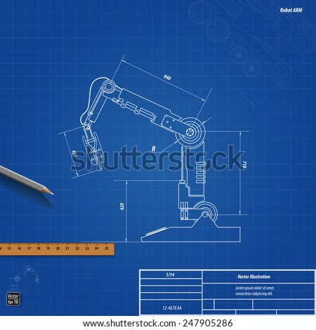 blueprint robotic arm  vector