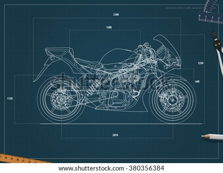 blueprint sport bike vector