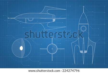 blueprint with spaceship