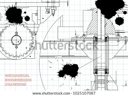 Blueprints. Engineering backgrounds. Mechanical engineering drawings. Cover. Banner. Technical Design. Draft. Black Ink. Blots
