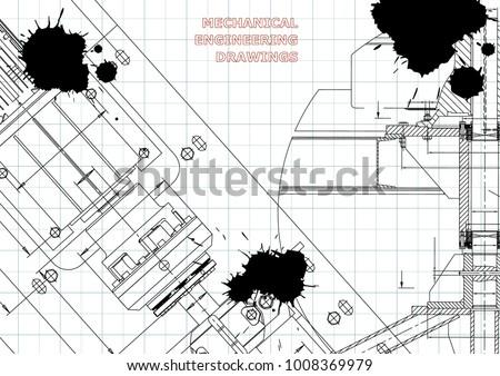 Blueprints. Mechanical construction. Technical Design. Cover. Banner. Draft. Black Ink. Blots