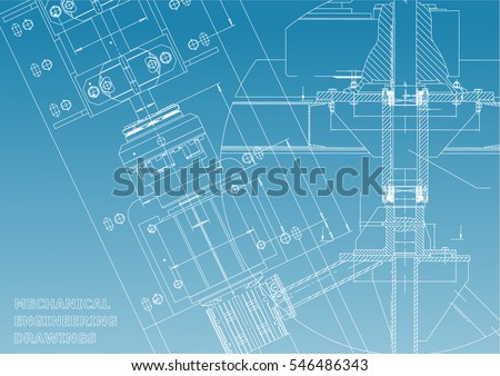Blueprints. Mechanical engineering drawings. Technical Design. Cover. Banner. Blue and White