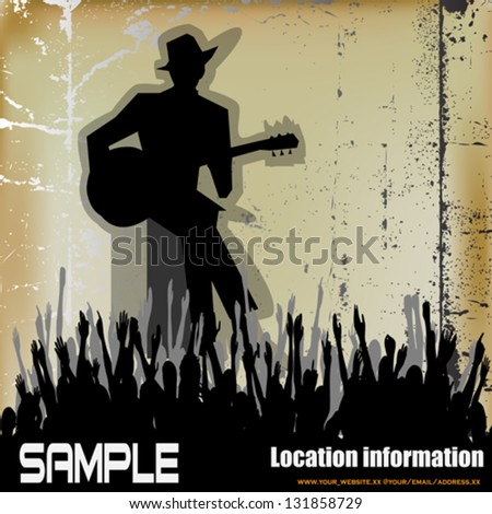 Blues Guitar Concert, Vector Poster or Flyer for an Acoustic Gig