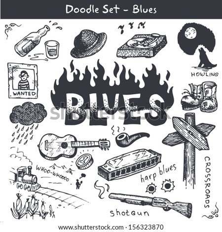 Blues Music Icon Set Doodle Style Stock Vector 156323870 Shutterstock