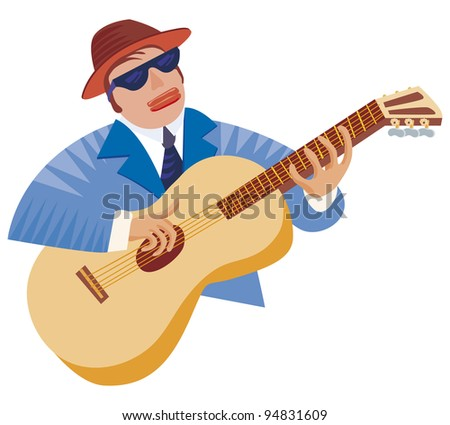 Bluesman With His Guitar In A Typical Playing Pose
