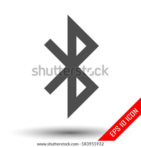 Bluetooth icon. Simple flat logo of bluetooth sign on white background. Vector illustration.