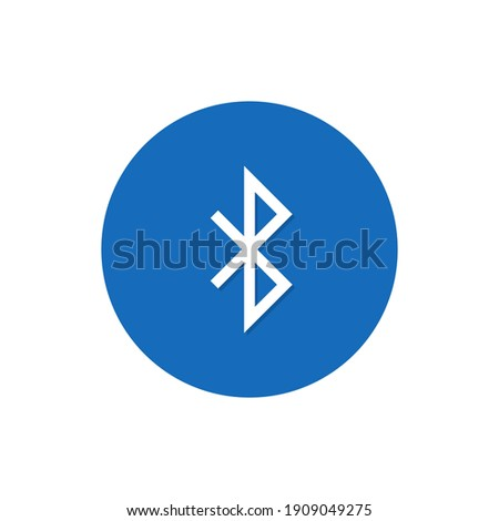 Bluetooth icon, Vector isolated connection sign on circle button, wireless technology concept.