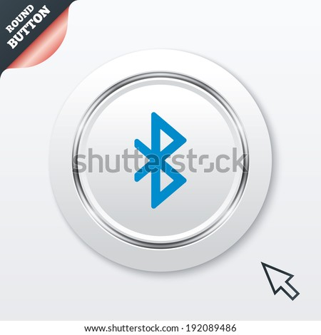 Bluetooth sign icon. Mobile network symbol. Data transfer. White button with metallic line. Modern UI website button with mouse cursor pointer. Vector