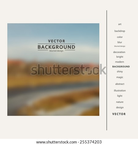 Blurred background vector natural landscape with the river.